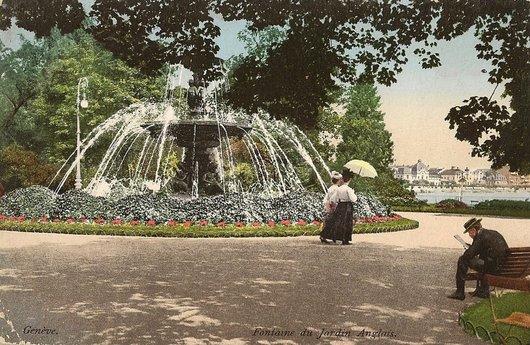 Photo fontaine des quatre saisons jardin anglais for Jardin anglais geneve suisse